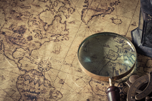 An historical map and looking glass