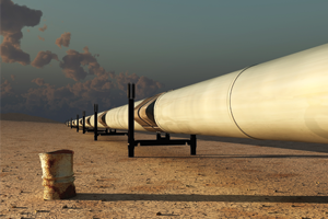 An oil pipeline through a desert area